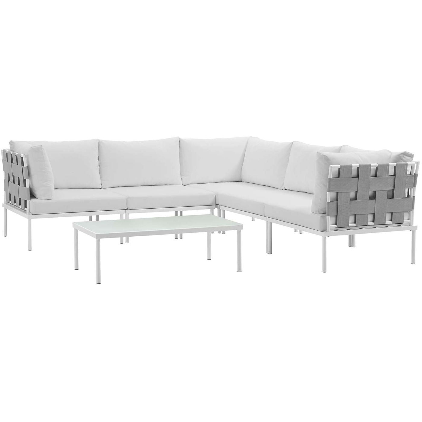 Harmony 6 Piece Outdoor Patio Aluminum Sectional Sofa Set White ...
