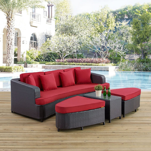 Modway Outdoor Patio Sets On Sale Eei 992 Brn Red Set Monterey 4 Piece Outdoor Patio Sofa Set Only Only 1 083 55 At Contemporary Furniture Warehouse