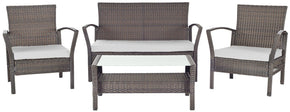 Avaron 4 Pc Outdoor Set Brown/ Grey Patio