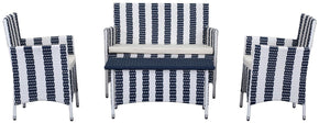 Figueroa 4 Pc Outdoor Set Navy / White Patio