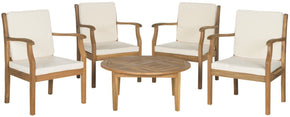 Colfax 5 Pc Coffee Set Teak Brown/beige Outdoor Patio