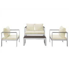 4-Piece Mod Style Chat Set With Cushions - Silver/espresso Outdoor Patio