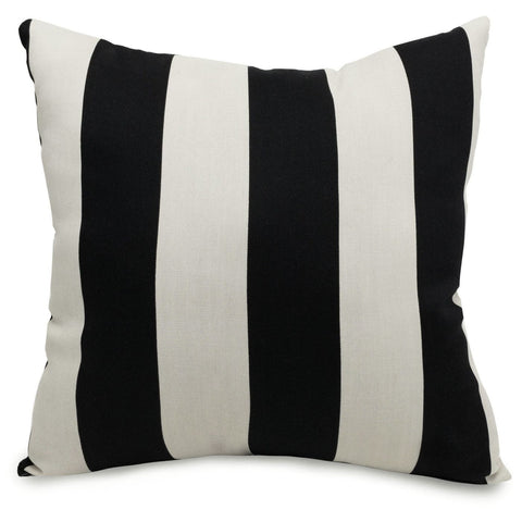 Black Vertical Stripe Large Pillow Outdoor