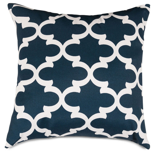 Navy Trellis Large Pillow Outdoor