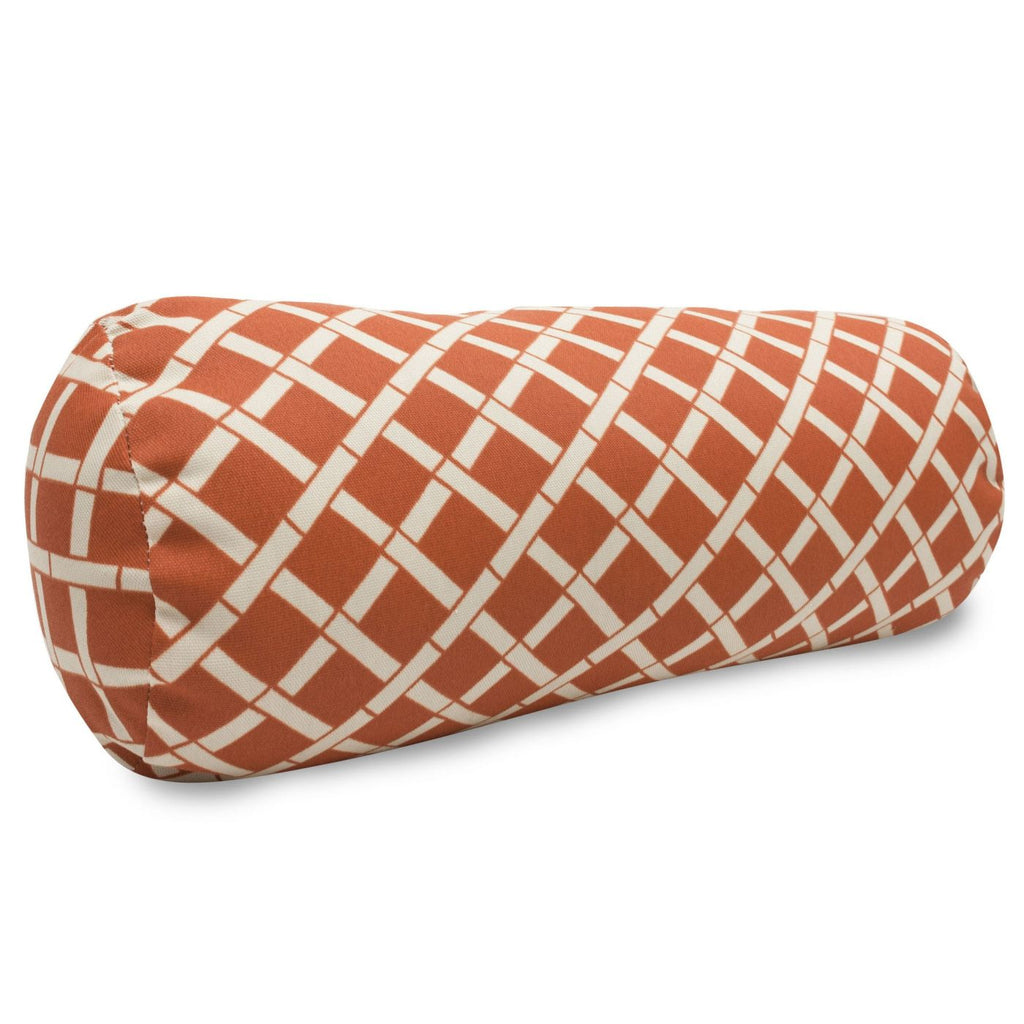 Burnt Orange Bamboo Round Bolster Outdoor Pillow