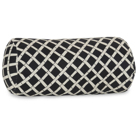 Black Bamboo Round Bolster Outdoor Pillow