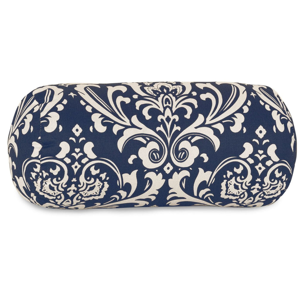 Navy Blue French Quarter Round Bolster Outdoor Pillow