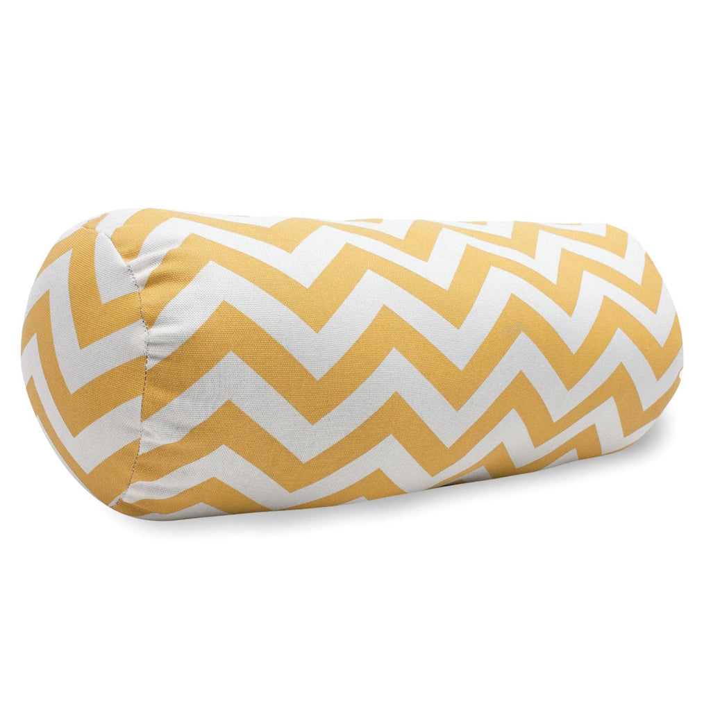 Yellow Chevron Round Bolster Outdoor Pillow