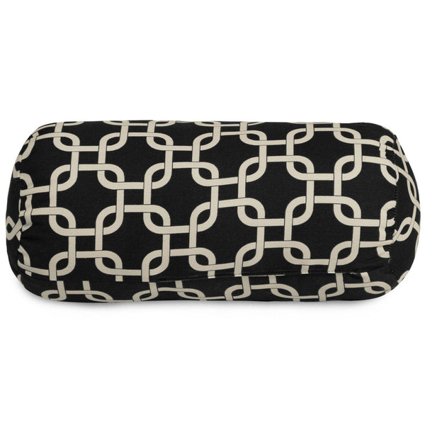Black Links Round Bolster Outdoor Pillow