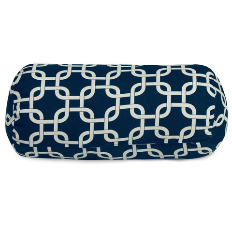 Navy Blue Links Round Bolster Outdoor Pillow