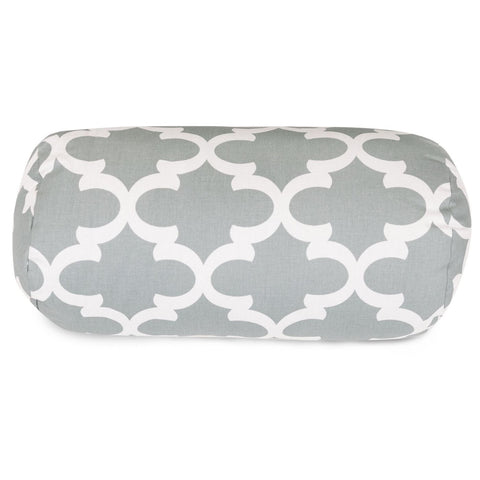 Gray Trellis Round Bolster Pillow Outdoor