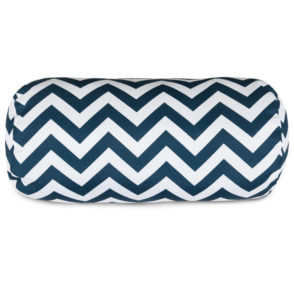 Navy Chevron Round Bolster Pillow Outdoor