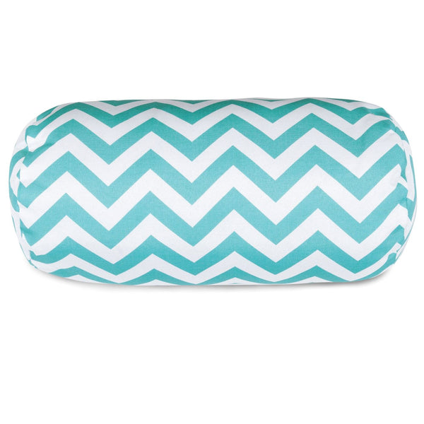 Teal Chevron Round Bolster Pillow Outdoor