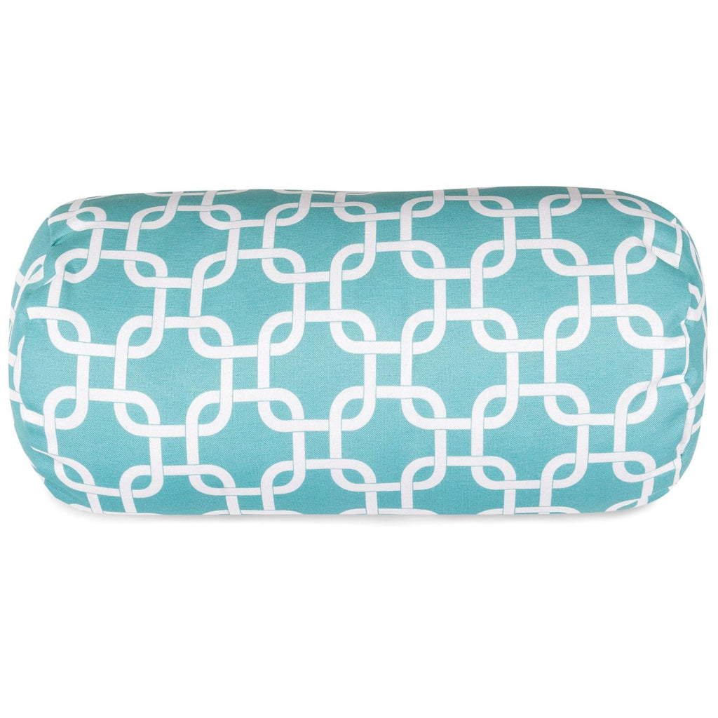 Teal Links Round Bolster Pillow Outdoor