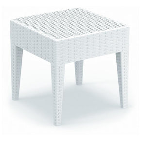 Miami Square Resin Side Table White Outdoor