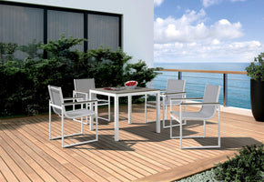 Vig Furniture VGGEFP0305 Renava Gulf Outdoor White & Grey Dining Table Set