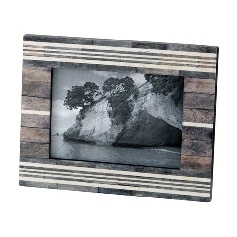 Gray And White 4X6 Horn Bone Frame Multi Picture