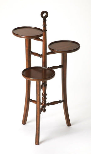 Kreiger Traditional Round Plant Stand Dark Brown