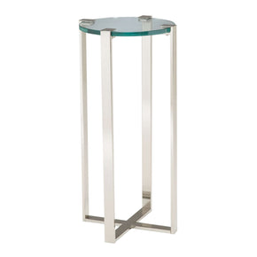Uptown Plant Stand Polished Nickel,clear Glass
