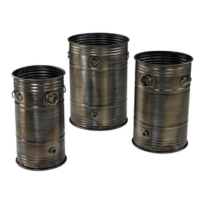 Set Of 3 Industrial Oil Drum Planters Planter