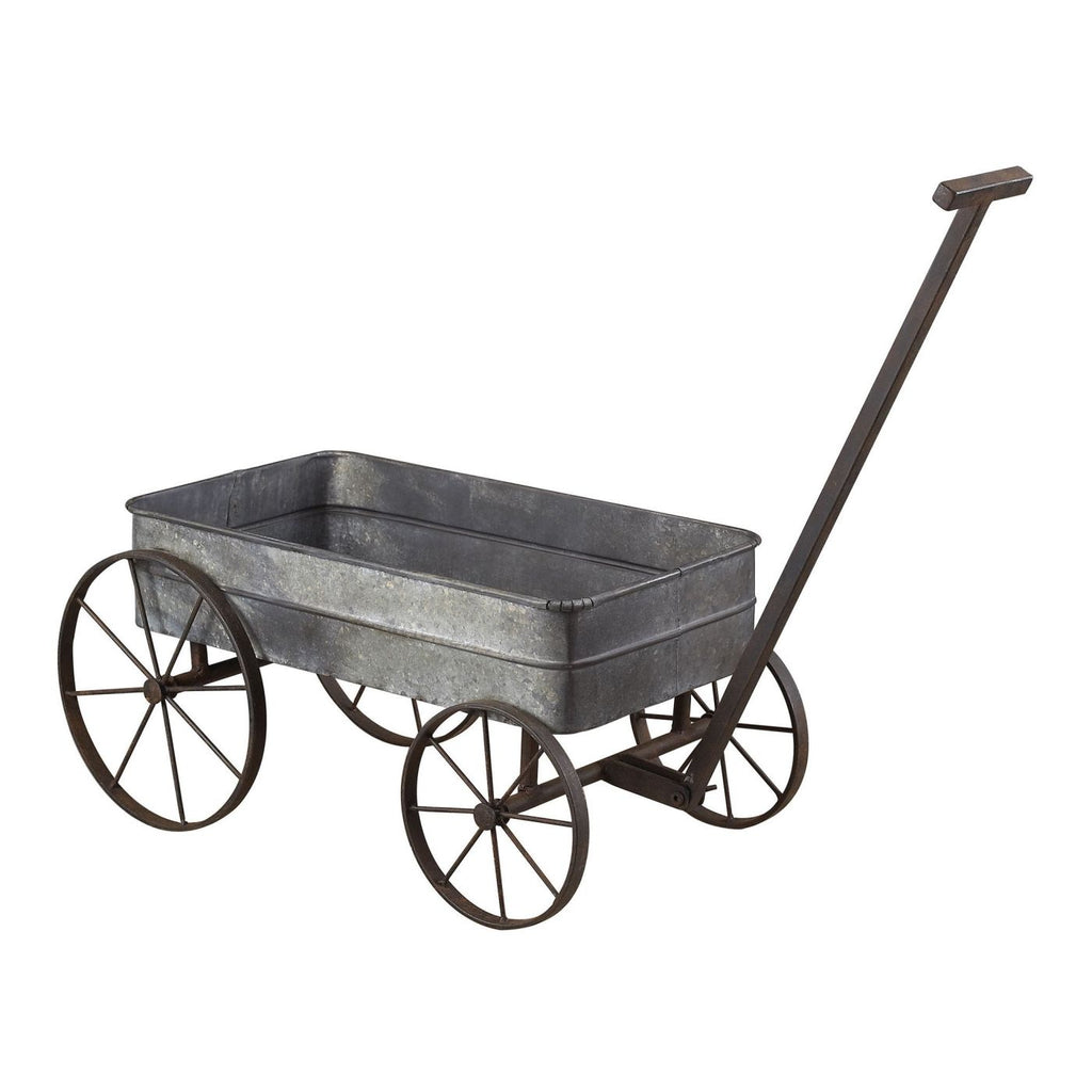 Metal Cart Planter With Handle Aluminum,black