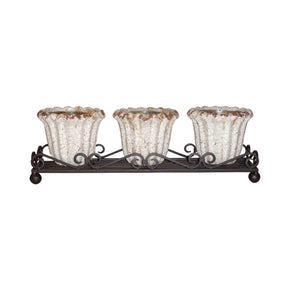 Jardin Wavy Triple Planter Rustic,white Crackle