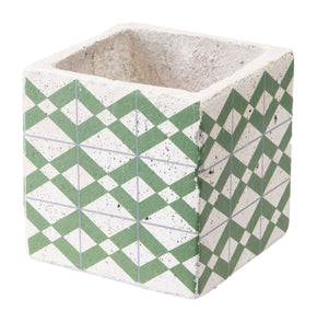 Cement Tribal Planter Green And Yellow