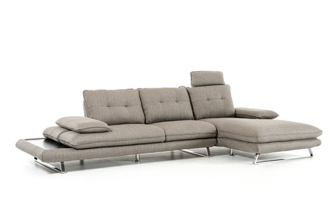 Divani Casa Porter Modern Grey Fabric Sectional Sofa - Right Facing | Modern Sectional Sofa by Vig Furniture at Contemporary Modern Furniture  Warehouse - 1