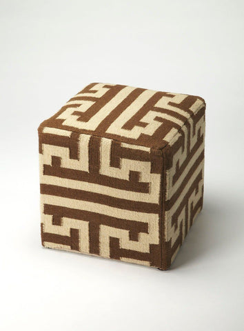 Labyrinth Transitional Square Pouffe Dark Brown Pouf