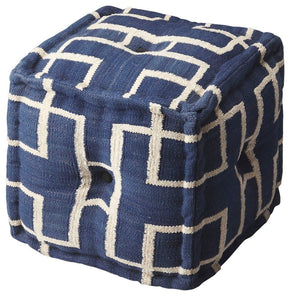 Berkeley Transitional Square Pouffe Blue Pouf