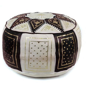Black / Beige Fez Moroccan Leather Pouf Round Genuine