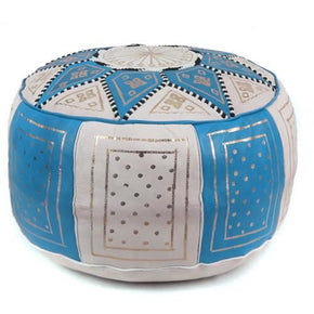 Blue / Beige Fez Moroccan Leather Pouf Round Genuine