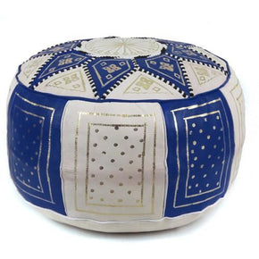 Navy / Beige Fez Moroccan Leather Pouf Round Genuine