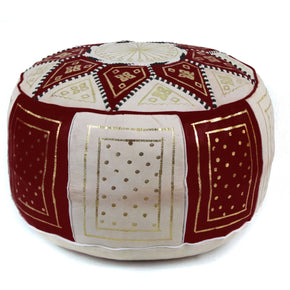 Chocolate Fez Moroccan Leather Pouf Round Genuine