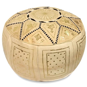 Beige Fez Moroccan Leather Pouf Round Genuine