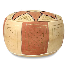 Pink Fez Moroccan Leather Pouf Round Genuine