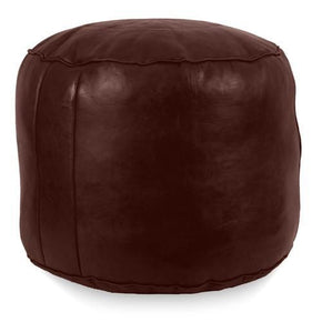 Chocolate Tabouret Fez Pouf Round Genuine Leather
