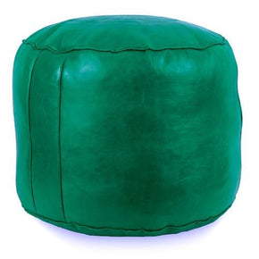 Green Tabouret Fez Pouf Round Genuine Leather