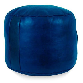 Navy Blue Tabouret Fez Pouf Round Genuine Leather
