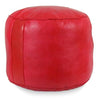 Red Tabouret Fez Pouf Round Genuine Leather