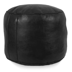 Black Tabouret Fez Pouf Round Genuine Leather