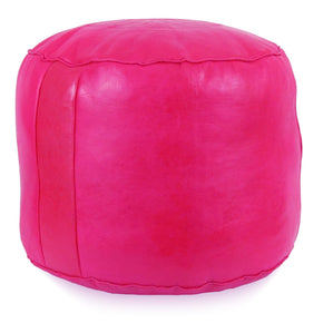 Fuchsia Tabouret Fez Pouf Round Genuine Leather