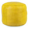 Yellow Tabouret Fez Pouf Round Genuine Leather