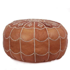 Dark Tan Moroccan Leather Pouf With Arch Design Round Genuine