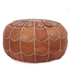 Dark Tan Moroccan Leather Pouf with arch design Round Genuine Leather