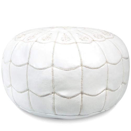 White Moroccan Leather Pouf With Arch Design Round Genuine