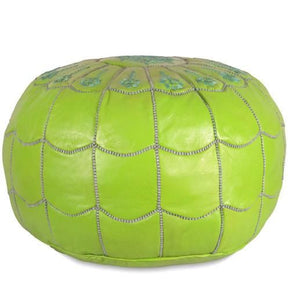 Lime Green Moroccan Leather Pouf With Arch Design Round Genuine