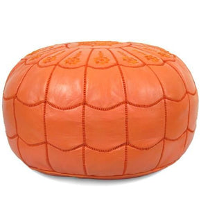 Orange Moroccan Leather Pouf With Arch Design Round Genuine
