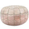 Natural Moroccan Leather Pouf With Arch Design Round Genuine