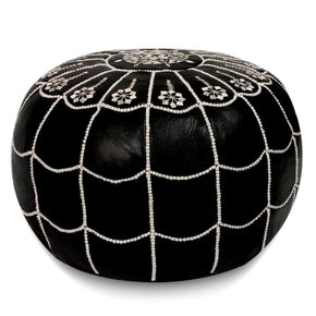 Black With White Stitching Moroccan Leather Pouf Arch Design Round Genuine